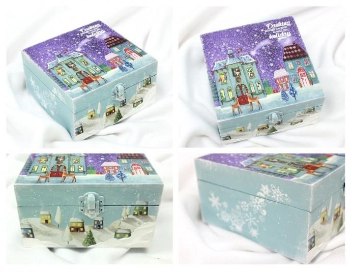 """Работилница """"Кутия за сладки с декупаж и снежни ефекти"""""""